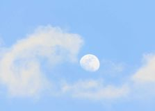 Moon in the daytime Royalty Free Stock Photo