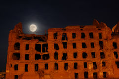 Moon and the destroyed house Royalty Free Stock Image