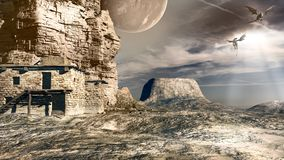 Moon and dragons. Desert scene with moon and dragons Royalty Free Stock Image