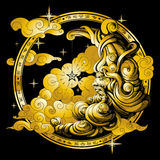 The moon is drawn in the form of an old man , gold vector illustration