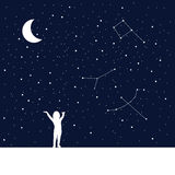 Moon and dreaming baby. Concept idea. Royalty Free Stock Photo