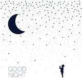 Moon and dreaming baby. Good night. Vector Illustration eps8 Royalty Free Illustration