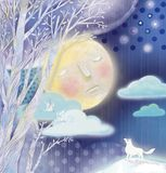 Moon dreams. Moon in the sky, white fox looking up with curosity Stock Photo