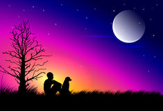 The moon at dusk Royalty Free Stock Photo