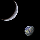 Moon and earth. Stock Image