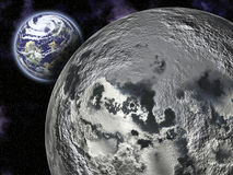 The Moon and Earth. This image shows the Moon and Earth, in space Royalty Free Stock Photography