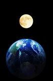 Moon and Earth. The Moon and the Earth, oneself photograph Moon and Earth image after computer synthesis Royalty Free Stock Images