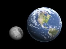 Moon and earth Stock Images