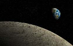Moon and Earth. View of planet Earth from moon's orbit with star field background Royalty Free Stock Photography