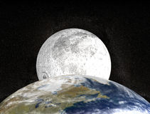 Moon and earth. Moon behind planet earth Royalty Free Illustration