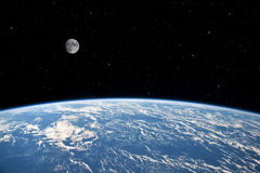 Moon and Earth. The Moon over planet Earth. Elements of this image furnished by NASA stock photos