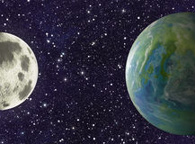 Moon and earth planets on stars backgrounds Stock Photography
