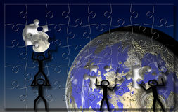 Moon Earth puzzle stock illustration