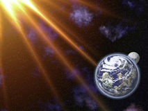 The Moon, the Earth and the Sun. This image shows the Moon and Earth, in space Royalty Free Stock Photography
