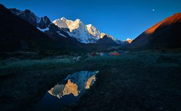 The moon on the east slope of Mount Everest royalty free stock photography