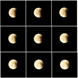 Moon eclipse July 27 2018. Phases of the moon eclipse, July 27th 2018. Set two consisting of nine images stock photography