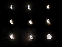 Moon eclipse phase Stock Images