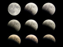 Moon eclipse phases stock images