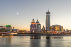 Moon evening at the Moscow International Music Center in Moscow royalty free stock images