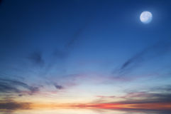 Moon on the evening sky. Royalty Free Stock Photos