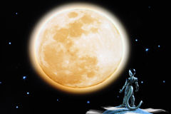 Moon and extraterrestrial Royalty Free Stock Images