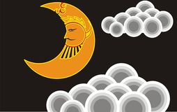 Moon Face chandra. Chandra is a moon god in Wayang story of java Royalty Free Stock Image