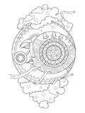 Moon with face coloring book vector illustration Stock Photo