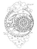 Moon with face drawing coloring book for adults Stock Photography