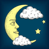 Moon with face engraving style vector illustration Stock Photos