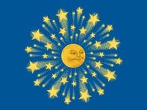 Moon Face Starburst Mandala Painting Illustration Royalty Free Stock Images
