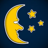 Moon with face and stars Royalty Free Stock Photography