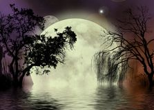Moon fairy background. A fantasy background with the moon and trees, including a weeping willow, reflecting in thewater
