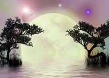 Moon fairy pinkish background. A fantasy background with the moon and trees reflecting in the water Stock Photography