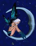 Moon Fairy with starry background - 2 Stock Photo