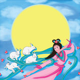 Moon fairy white rabbit back moon Royalty Free Stock Image