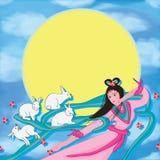 Moon fairy white rabbit back moon Royalty Free Stock Image
