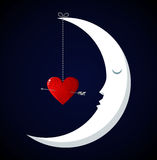 Moon Fall in love Valentines day background Royalty Free Stock Photo