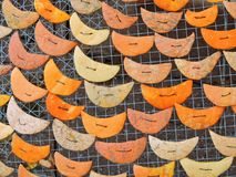 Moon figure cut from pumpkin skin Royalty Free Stock Image