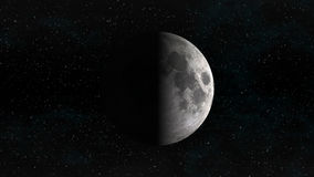 Moon in first quarter phase with stars Stock Photo