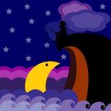 Moon fishing Royalty Free Stock Image