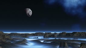 The Moon Flew Over Alien Planet. In the dark starry sky, the nebula and the flying planet moon. Dark rocks stand among a dense white - blue fog vector illustration