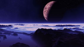 The Moon Flies Over An Alien Planet royalty free illustration