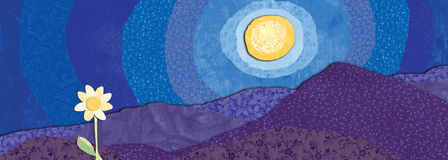 Moon and Flower. Daisy growing by the mountains in the moonlight royalty free illustration
