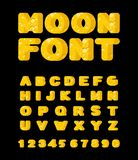 Moon font. Yellow letters of moon texture. Vector alphabet Royalty Free Stock Image