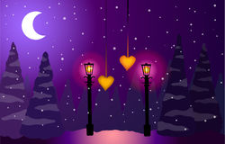 Moon in foresta alla notte, stelle, due lampade e due cuori Fotografia Stock