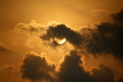 Moon. A full moon in a cloudy sky Stock Images