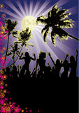 moon fulla flickor för strandreklamblad deltagaren Arkivfoto