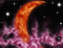 Moon in galaxy Royalty Free Stock Image