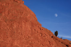 Moon in Garden of the Gods Stock Photos