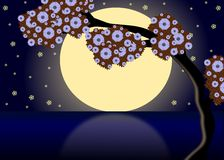 Moon on the lake. Image representing a full moon at night that reflects its light in a lake vector illustration
